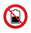 No Battery half level sign icon Low electricity vector image vector image