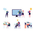 office people character work set man woman vector image