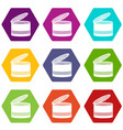 open tin can icon set color hexahedron vector image vector image