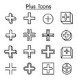 plus positive cross add icon set in thin line vector image