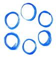 set blue acrylic round circles vector image