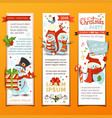 set of cartoon vertical christmas banners with vector image