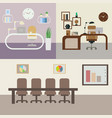 set of office rooms with furniture vector image
