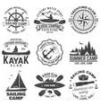 set sailing camp canoe and kayak club badges vector image vector image