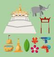 songkran festival icons vector image