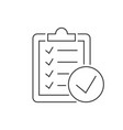to do check list on clipboard linear icon on white vector image