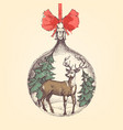 vintage christmas ball deer and pine trees vector image vector image