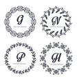 vintage set floral elements for design of vector image vector image