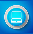 white laptop icon isolated on blue background vector image
