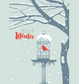 winter banner with bird in cage under snowy tree vector image