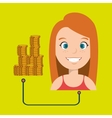 woman with coins isolated icon design vector image vector image