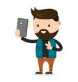 young bearded hipster man do selfie vector image