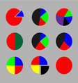 Set of pie chart color flat vector image