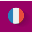 Round icon with flag of France vector image