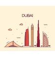 Dubai City skyline Trendy line art vector image