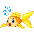 Gold fish with bubbles on white background vector image