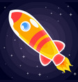 orange with red stripes space rocket with porthole vector image