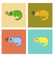 assembly flat icons reptile chameleon vector image
