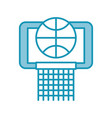blue basket ball in the hoop cartoon vector image