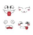 Set of line emoticons vector image
