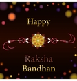 Beautiful creative rakhi on shiny background for vector image vector image