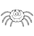 black and white funny spider cartoon character vector image