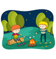 Boys at bornfire grilling food vector image vector image