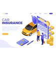 car insurance isometric concept vector image vector image
