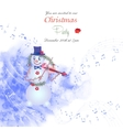 Christmas invitation with snowman vector image