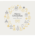 christmas wreath icons and happy new year vector image
