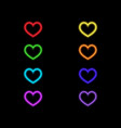 colored neon hearts on a black background vector image vector image