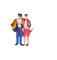 couple gays holding lgbt rainbow flag love parade vector image