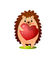 cute hedgehog give a big heart balloon to friend vector image vector image