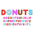 donut alphabet sweet bakery donut font pink vector image