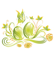Easter eggs spring flowers vector image vector image