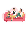 family celebrating christmas parents give gift vector image