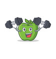 fitness green apple character cartoon vector image vector image