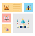 flat icon mosque set of muslim mohammedanism vector image vector image