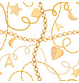 golden chains and charms seamless pattern fashion vector image vector image