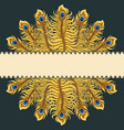 greeting card with gold peacock feathers ribbon vector image vector image