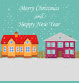 greeting poster with snowy street merry christmas vector image