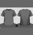 grey or black short sleeve t-shirt front and back vector image