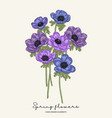 hand drawn spring flowers blue and violet vector image vector image