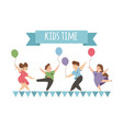 happy kids dancing and jumping with balloons vector image