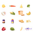 icons set lemon carrot and cheese broccoli vector image vector image