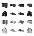 isolated object facade and housing icon set of vector image vector image