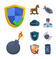 isolated object of virus and secure symbol set of vector image