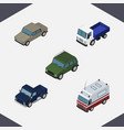 isometric car set of armored auto lorry and vector image vector image