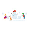 kids or children with dog build a snowman vector image vector image