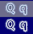 letter q on grey and blue background vector image vector image